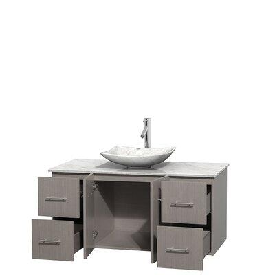 Centra 48 Single Bathroom Vanity Set Base Finish: Gray Oak, Top Finish: White Carrera, Basin Finish: White Carrera Marble