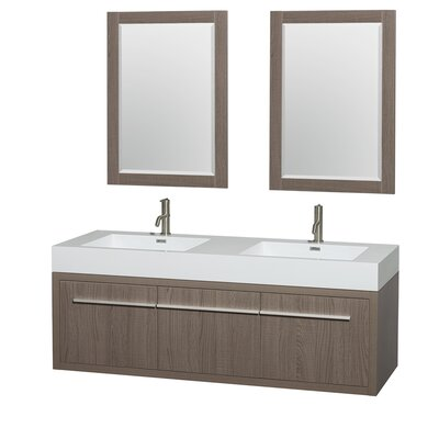 Axa 60 Double Gray Oak Bathroom Vanity Set with Mirror