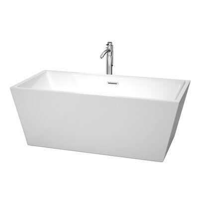 Sara 63 x 31.5 Soaking Bathtub With Floor Mounted Faucet in Polished Chrome