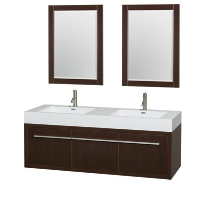 Axa 60 Double Espresso Bathroom Vanity Set with Mirror
