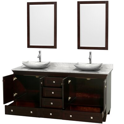 Acclaim 72 Double Espresso Bathroom Vanity Set with Mirror Top Finish: White Carrera Marble, Sink Finish: Arista White Carrera Marble
