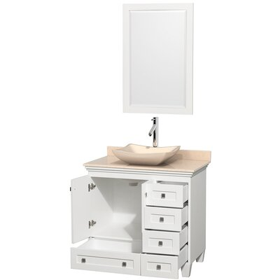 Acclaim 36 Single White Bathroom Vanity Set with Mirror Top Finish: Ivory Marble, Sink Finish: Arista White Carrera Marble