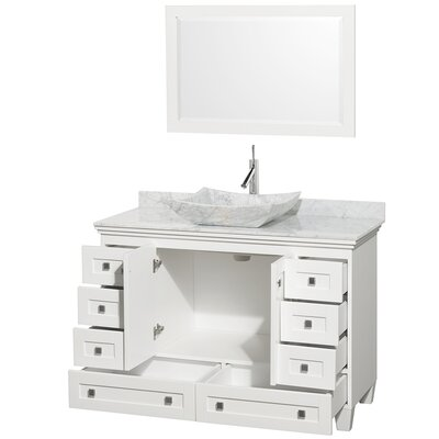 Acclaim 48 Single White Bathroom Vanity Set with Mirror Top Finish: White Carrera Marble, Sink Finish: Avalon White Carrera Marble