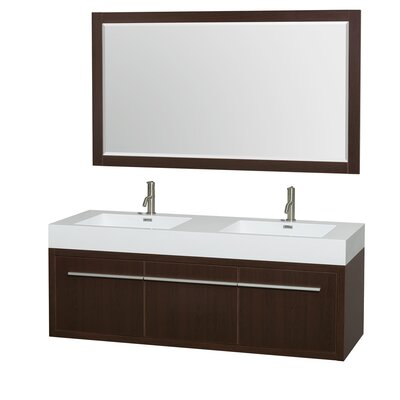 Axa 60 Double Espresso Bathroom Vanity Set with Mirror
