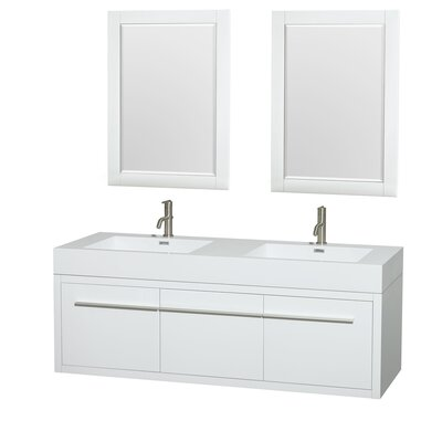 Axa 60 Double Glossy White Bathroom Vanity Set with Mirror