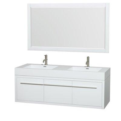Axa 60 Double Glossy White Bathroom Vanity Set with Mirror