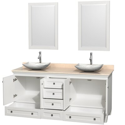 Acclaim 72 Double White Bathroom Vanity Set with Mirror Top Finish: Ivory Marble, Sink Finish: Arista White Carrera Marble