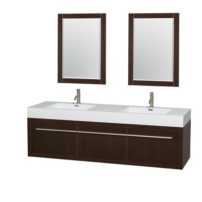 Axa 72 Double Espresso Bathroom Vanity Set with Mirror