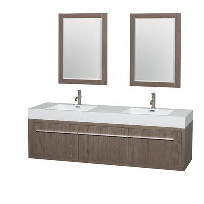 Axa 72 Double Gray Oak Bathroom Vanity Set with Mirror