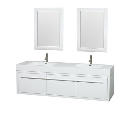 Axa 72 Double Glossy White Bathroom Vanity Set with Mirror