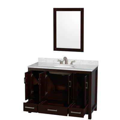 "Wyndham Collection Sheffield 48"" Single Bathroom Vanity Set with Mirror - Base Finish: White, Top Finish: Carrera White"