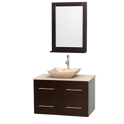 Centra 36 Single Espresso Bathroom Vanity Set with Mirror Top Finish: Ivory Marble, Sink Finish: Avalon Ivory Marble