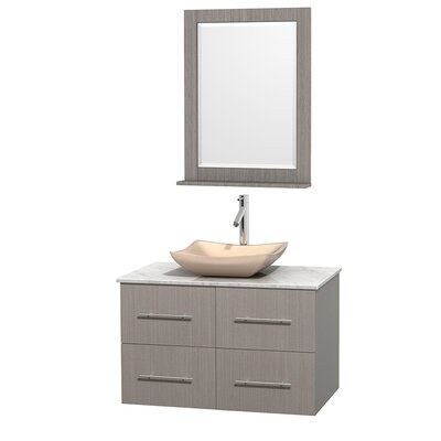 Centra 36 Single Gray Oak Bathroom Vanity Set with Mirror Top Finish: White Carrera Marble, Sink Finish: Avalon Ivory Marble
