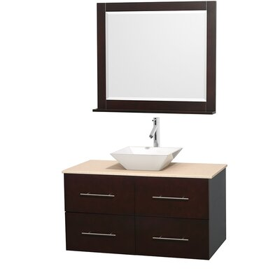 Centra 42 Single Espresso Bathroom Vanity Set with Mirror Sink Finish: White Porcelain, Top Finish: Ivory Marble