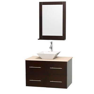 Centra 36 Single Espresso Bathroom Vanity Set with Mirror Sink Finish: Avalon White Carrera Marble, Top Finish: Green Glass