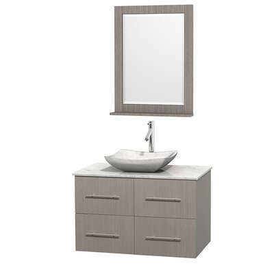 Centra 36 Single Gray Oak Bathroom Vanity Set with Mirror Top Finish: White Carrera Marble, Sink Finish: Avalon White Carrera Marble