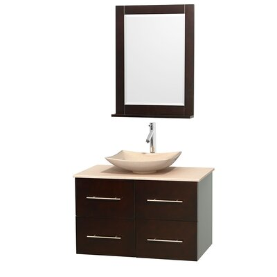 Centra 36 Single Espresso Bathroom Vanity Set with Mirror Top Finish: Ivory Marble, Sink Finish: Arista Ivory Marble