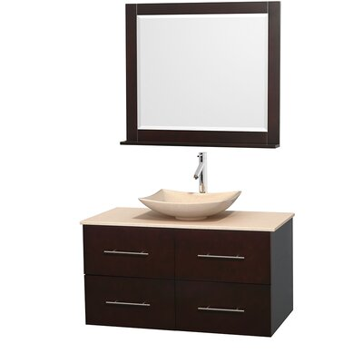 Centra 42 Single Espresso Bathroom Vanity Set with Mirror Top Finish: White Carrera Marble, Sink Finish: Arista White Carrera Marble