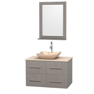 Centra 36 Single Gray Oak Bathroom Vanity Set with Mirror Top Finish: Ivory Marble, Sink Finish: Avalon Ivory Marble