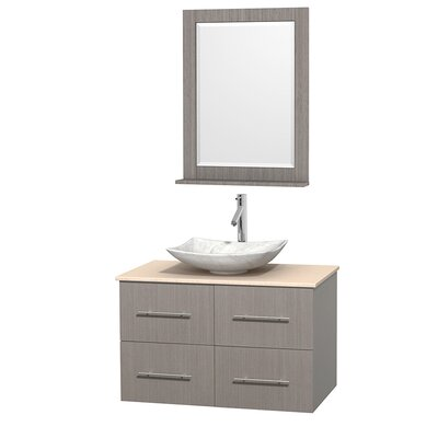 Centra 36 Single Gray Oak Bathroom Vanity Set with Mirror Top Finish: Ivory Marble, Sink Finish: Arista White Carrera Marble