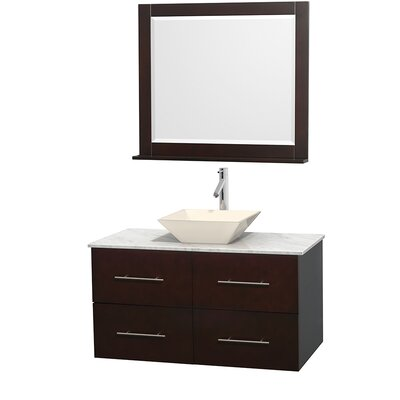 Centra 42 Single Espresso Bathroom Vanity Set with Mirror Top Finish: White Carrera Marble, Sink Finish: Bone Porcelain