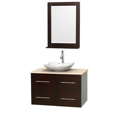 Centra 36 Single Espresso Bathroom Vanity Set with Mirror Top Finish: Ivory Marble, Sink Finish: Arista White Carrera Marble