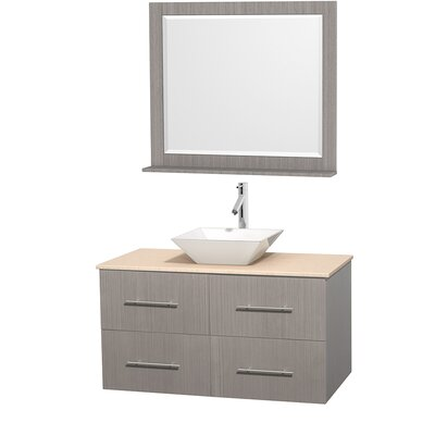 Centra 42 Single Gray Oak Bathroom Vanity Set with Mirror Sink Finish: White Porcelain, Top Finish: Ivory Marble