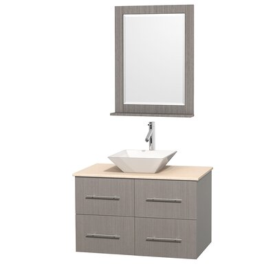 Centra 36 Single Gray Oak Bathroom Vanity Set with Mirror Top Finish: White Man-Made Stone, Sink Finish: Altair Black Granite