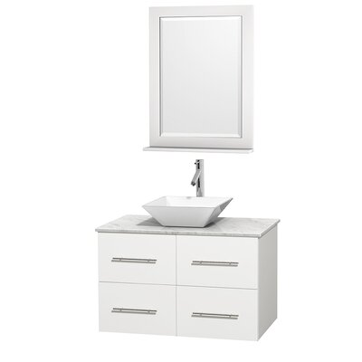 Centra 36 Single White Bathroom Vanity Set with Mirror Top Finish: White Carrera Marble, Sink Finish: White Porcelain