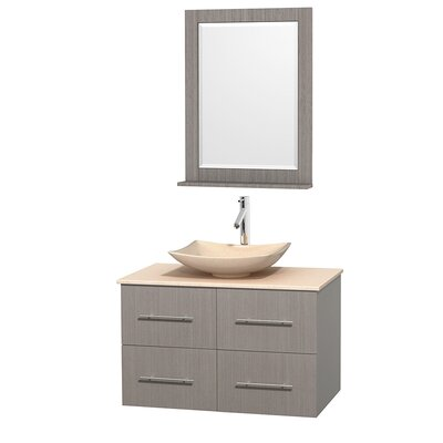 Centra 36 Single Gray Oak Bathroom Vanity Set with Mirror Top Finish: Ivory Marble, Sink Finish: Arista Ivory Marble