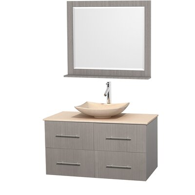 Centra 42 Single Gray Oak Bathroom Vanity Set with Mirror Sink Finish: Arista White Carrera Marble, Top Finish: Green Glass