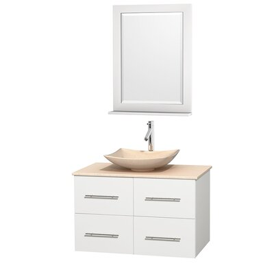Centra 36 Single White Bathroom Vanity Set with Mirror Top Finish: Green Glass, Sink Finish: Avalon White Carrera Marble