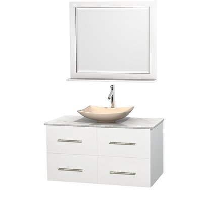 Centra 42 Single White Bathroom Vanity Set with Mirror Top Finish: Green Glass, Sink Finish: Arista White Carrera Marble