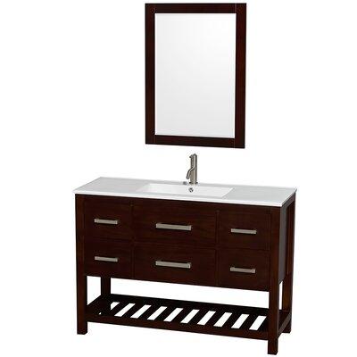 Natalie 48 Single Espresso Bathroom Vanity Set with Mirror