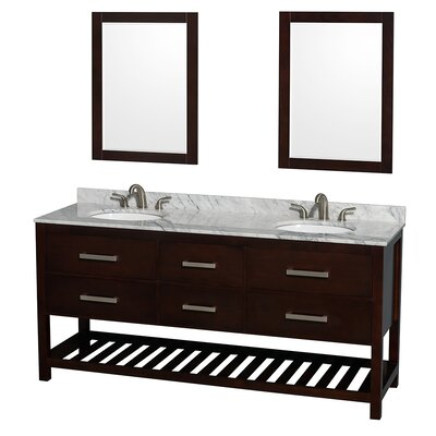 Natalie 72 Double Espresso Bathroom Vanity Set with Mirror Top Finish: White Carrera Marble, Faucet Mount: Single Hole