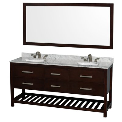 Natalie 72 Double Espresso Bathroom Vanity Set with Mirror Top Finish: White Carrera Marble, Faucet Mount: 8 Centers