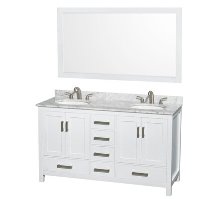 Sheffield 60 Double White Bathroom Vanity Set with Mirror Top Finish: White Carrera Marble