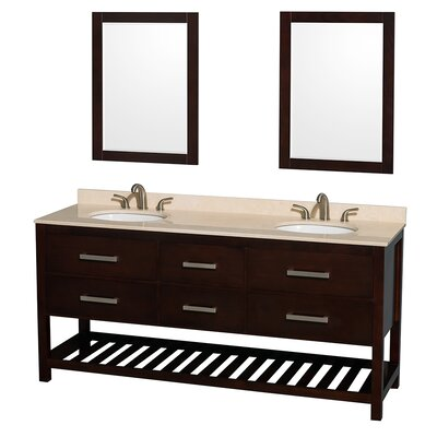 Natalie 72 Double Espresso Bathroom Vanity Set with Mirror Top Finish: Ivory Marble, Faucet Mount: Single Hole