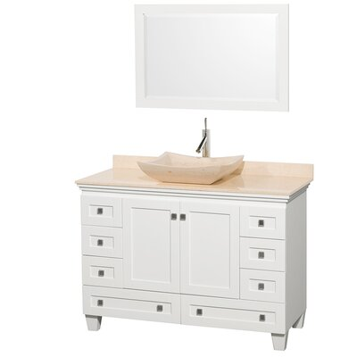 Acclaim 48 Single White Bathroom Vanity Set with Mirror Top Finish: Ivory Marble, Sink Finish: Bone Porcelain