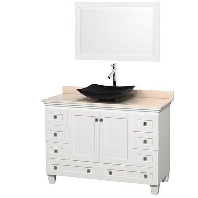 Acclaim 48 Single White Bathroom Vanity Set with Mirror Top Finish: Ivory Marble, Sink Finish: Arista Black Granite