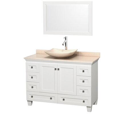Acclaim 48 Single White Bathroom Vanity Set with Mirror Top Finish: Ivory Marble, Sink Finish: Arista Ivory Marble