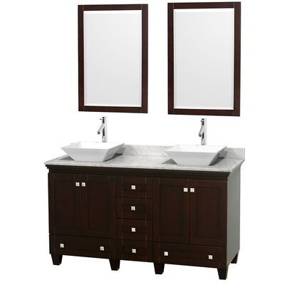 Acclaim 60 Double Espresso Bathroom Vanity Set with Mirror Top Finish: White Carrera Marble, Sink Finish: White Porcelain