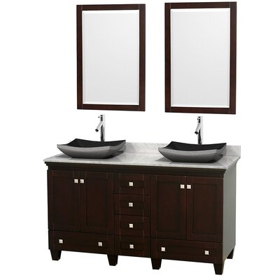 Acclaim 60 Double Espresso Bathroom Vanity Set with Mirror Top Finish: White Carrera Marble, Sink Finish: Altair Black Granite