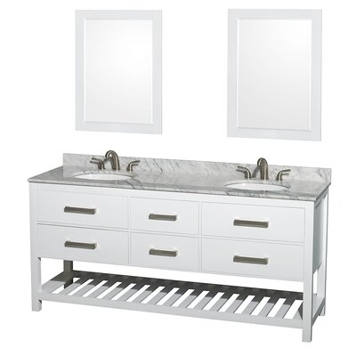 Natalie 72 Double White Bathroom Vanity Set with Mirror Top Finish: White Carrera Marble, Faucet Mount: Single Hole