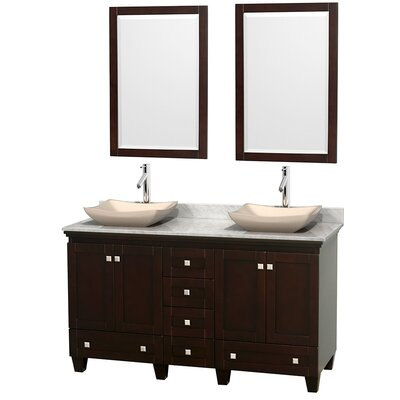 Acclaim 60 Double Espresso Bathroom Vanity Set with Mirror Top Finish: White Carrera Marble, Sink Finish: Avalon Ivory Marble
