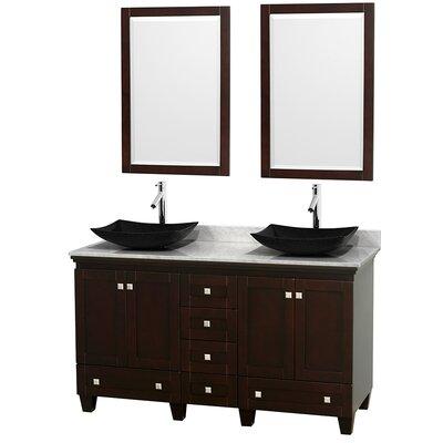 Acclaim 60 Double Espresso Bathroom Vanity Set with Mirror Top Finish: White Carrera Marble, Sink Finish: Arista Black Granite