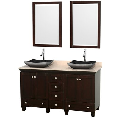 Acclaim 60 Double Espresso Bathroom Vanity Set with Mirror Top Finish: Ivory Marble, Sink Finish: Altair Black Granite