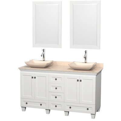 Acclaim 60 Double White Bathroom Vanity Set with Mirror Top Finish: Ivory Marble, Sink Finish: Avalon Ivory Marble