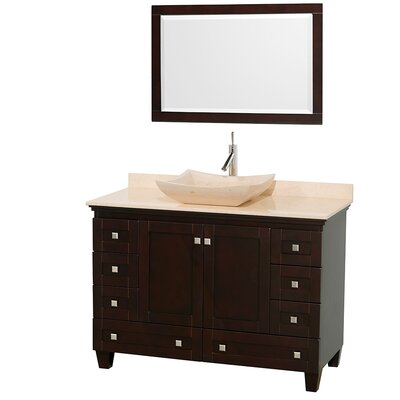 Acclaim 48 Single Espresso Bathroom Vanity Set with Mirror Top Finish: White Carrera Marble, Sink Finish: Bone Porcelain
