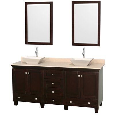 Acclaim 72 Double Espresso Bathroom Vanity Set with Mirror Top Finish: Ivory Marble, Sink Finish: Arista White Carrera Marble
